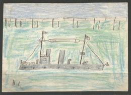 """CHILD'S DRAWING. PENCIL. GERMAN NAVAL VESSEL AND PIER. FROM AROUND THE WORLD WAR ONE PERIOD. 4"""" X 5 1/4"""" - Nautique & Maritime"""