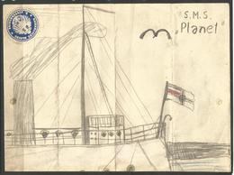 CHILD'S DRAWING. GERMAN NAVAL SURVEY SHIP SMS PLANET. ATTACHED IS A LETTER SEAL FOR IMPERIAL NAVY COASTAL AREA 3. THIS V - Nautique & Maritime