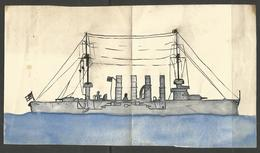 """CHILD'S DRAWING. INK AND WATER COLOUR. GERMAN NAVAL VESSEL. FROM AROUND THE WORLD WAR ONE PERIOD. 4 1/2"""" X 8"""" - Nautique & Maritime"""