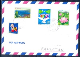 K835- Postal Used Cover. Posted From Nippon Japan To Pakistan. Plant. Flower. Animals. River.Building. - Japan