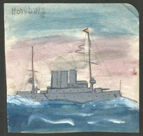 """CHILD'S DRAWING. PENCIL AND WATERCOLOUR. GERMAN NAVAL SHIP SMS HAMBURG. FROM AROUND THE WORLD WAR ONE PERIOD. 4"""" X 4"""" - Nautique & Maritime"""