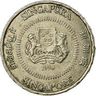 Monnaie, Singapour, 50 Cents, 1990, British Royal Mint, TTB, Copper-nickel - Singapour