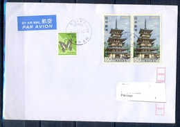 K848- Postal Used Cover. Posted From Nippon Japan To Pakistan. Butterfly. Building. - Japan