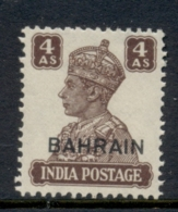 Bahrain 1942-44 KGVI Opt On India 4a MLH - Bahreïn (1965-...)