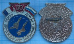 RUSSIA / Badge / Pin / FRANCE. Veteran Air Force. Military Aviation. Operation Normandy-Neman. 50 Years. 1992 - Airforce