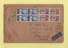 Destination Tchad - Recommande Par Avion - Evin Malmaison Pas De Calais - 29-6-1970 - Pour Fort Lamy (avec Arrivee) - Marcophilie (Lettres)
