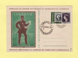 Luxembourg - Centilux - 4 Juin 1952 - Exposition Internationale - Facteur - Timbre Sur Timbre - Luxemburg
