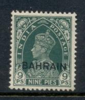 Bahrain 1938-41 KGVI Opt On India 9p MLH - Bahrain (1965-...)