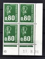 FRANCE 1976 - BLOC DE 4 TP / Y.T. N° 1893 - NEUFS** COIN DE FEUILLE / DATE - Hoekdatums