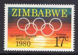 ZIMBABWE - 1980 MOSCOW OLYMPIC STAMP FINE MNH ** SG 596 - Zimbabwe (1980-...)