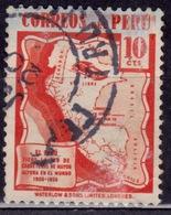 Peru, 1938, Highway Map Of Peru, 10c, Sc#377, Used - Peru