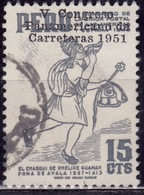 Peru, 1951, Post Boy, Overprint, 15c, Sc#449, Used - Perù