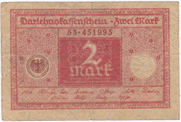 Allemagne - Billet De 2 Mark - 1er Mars 1920 - [ 3] 1918-1933 : República De Weimar