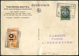 RAILWAY MAIL 1937 Netherlands 10 C. NEDERLANDSCHE SPOORWEGEN Locomotive Parcel Stamp On Postcard Touring Hotel Bahnpost - Trains