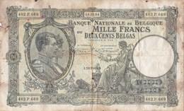 Belgique - Billet De 1000 Francs Ou 200 Belgas - Albert Ier Et Reine Elisabeth - 14 Décembre 1934 - [ 2] 1831-... : Royaume De Belgique