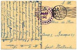 CP Expédiée De Bruxelles Vers Un Interné Du Camp De Zeist (NL) - Censure Aachen (1915) - Weltkrieg 1914-18