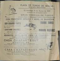 Rare Petite Affichette Grande Corrida 31 Mars 1929 à Séville - Manifesti