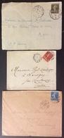 D450 Convoyeur Et Ambulants Versailles à Paris Sables D'O à Tours Clermont à Paris Semeuse 1907 1923 1926 - Postmark Collection (Covers)