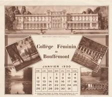 Rare Calendrier Collège Féminin De Bouffémont Janvier 1930 Et Février - Calendars