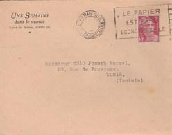 FLAMME FLIER LE PAPIER EST RARE....BD EVIDE - PARIS 108 - B108207V DREYFUSS - POUR LA TUNISIE - Marcophilie (Lettres)