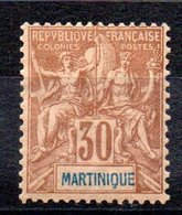 MARTINIQUE - YT N° 39 -  Neuf * - MH - Cote: 35,00 € - Martinique (1886-1947)