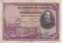 Espagne - Billet De 50 Pesetas - Velasquez - 15 Août 1928 - [ 1] …-1931 : Eerste Biljeten (Banco De España)