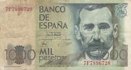 Espagne - Billet De 1000 Pesetas - Benito Perez Galdos - 23 Octobre 1979 - [ 4] 1975-… : Juan Carlos I