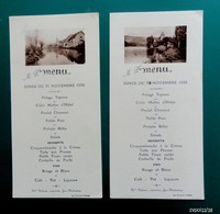 2 Menus Novembre 1935 - Mme Salmon Cuisinière à Jeu Maloches - Illustrés De Photos - Menus
