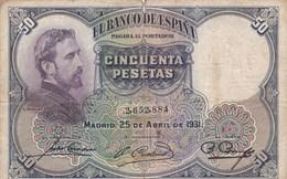 Espagne - Billet De 50 Pesetas - Eduardo Rosales - 25 Avril 1931 - 50 Pesetas