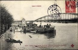 Cp Paris XII., Crue De La Seine, Quai De La Rapee, Passerelle Du Métro - Autres