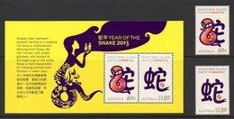 CHRISTMAS AUSTRALIE 0737/38 Et Bf 041 Année Du Serpent , Zodiaque - Astrology