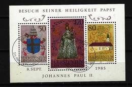 LIECHTENSTEIN Block Mi-Nr. 12 Besuch Von Papst Johannes Paul II. In Liechtenstein Gestempelt - Blocks & Kleinbögen
