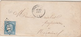 Yvert 60A Lettre CONDE En Brie Aisne 10/9/1873 GC 1103 Pour Montmirail Sur Marne - Ambulant - Marcofilie (Brieven)