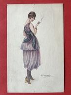 Illustrateur BOMPARD - FEMME AVEC CIGARETTE - TABAC - DAME MET EEN SIGARET - Bompard, S.