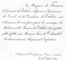 Faire-part De Mariage De Mademoiselle Yvonne De Valori Avec Monsieur Jean De Colombel Lieutenant Au 161 E Régiment D'inf - Wedding