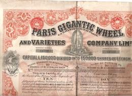 Superbe Action Grande Roue De Paris Gigantic Wheel Titre Au Porteur Share Warrant De 10 Actions 1898 Complet - Toerisme