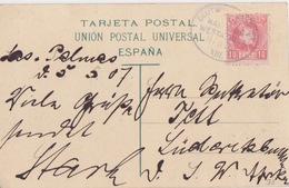 CP De Las Palmas Obl. Le II/5/07 Hambourg Westafrika Sur 10c Rose Pour L'Allemagne (tarif étranger) - 1889-1931 Royaume: Alphonse XIII