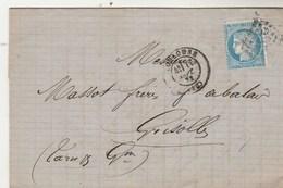 Yvert 60A Lettre TOULOUSE Haute Garonne 11/9/1872 GC 3982 Pour Grisolles Tarn Et Garonne - Marcofilie (Brieven)