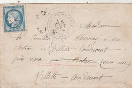 Yvert 60C Lettre FERRIERES En Brie Seine Et Marne Cachet à Date 8/8/1876 à Comtesse De Thermes Villette Condecourt - 1849-1876: Période Classique
