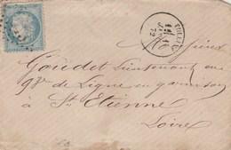 Yvert 60A Variété 2 Points Sur La Tête Lettre TULLINS Isère 1/1/1872 ( Jour De L'an ) GC 4043 Pour St Etienne - Marcophilie (Lettres)