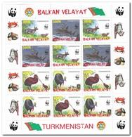 Balkan Velayat, Postfris MNH, Birds, WWF, Animals - Turkmenistan