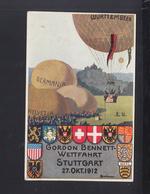 Dt. Reich Privat-Ganzsache Gordon Bennett Wettfahrt Stuttgart 1912 Gelaufen - Stamped Stationery