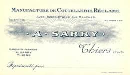 63 , THIERS , Coutellerie-Réclame A . Sarry , Models De Couteaux Au Dos , * 427 07 - Thiers
