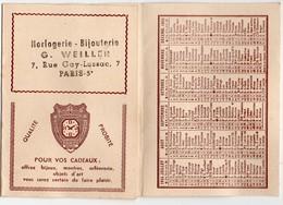 Paris 5e: Rue Gay Lussac: Calendrier 1955 HORLOGERIE BIJOUTERIE WEILLER (PPP18240) - Calendarios