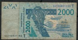 W.A.S. TOGO  P816Tp 2000 FRANCS (20)16 2016  DUSTY 3 P.h. ! FINE - West African States