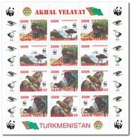 Akhal Velayat, Postfris MNH, Birds, WWF, Animals - Turkmenistan
