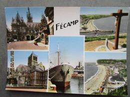 CP 76 FECAMP - Le Port Bateau Terre Neuve ARNAUD LEGASSE Morue , La Bénédictine,l'abbaye , La Plage - Multivue - Fécamp
