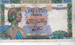 Billet De 500 Francs ( La Paix ) Type 1939 - Le 16-05-1940 En T T B - - 1871-1952 Gedurende De XXste In Omloop