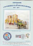 Feuillet 4 Pages Signé Illustrateur Roland Irolla Centenaire Automobile Club Des Deux Sèvres 2011 Avec Montimbreamoi - Automobili