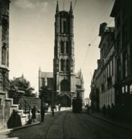 Belgique Gand Gent Facade De Saint Bavon Ancienne Photo Stereo NPG 1900's - Photos Stéréoscopiques